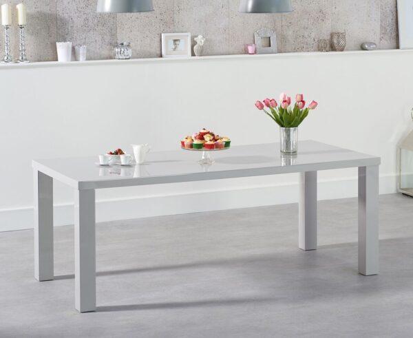 Para Extra Large High Gloss Rectangular Modern Kitchen Dining Table - Light Grey Various Sizes