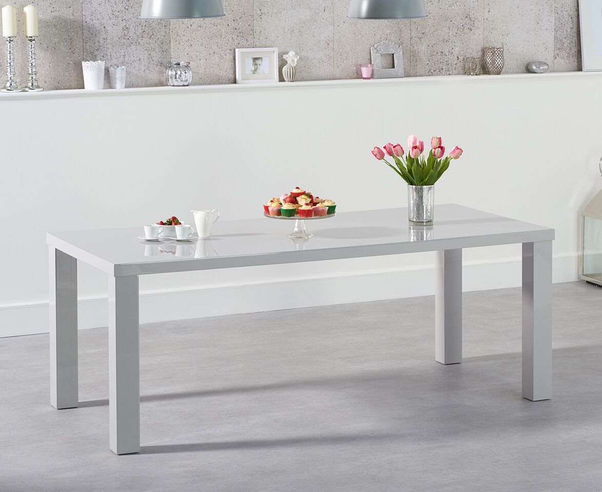 Para Extra Large High Gloss Rectangular Modern Kitchen Dining Table - Light Grey Various Sizes