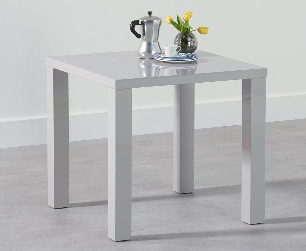Para Small High Gloss Square Modern Kitchen Dining Table - Space Saver Light Grey