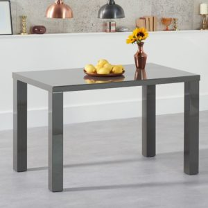 Para Large High Gloss Rectangular Modern Kitchen Dining Table - Dark Grey