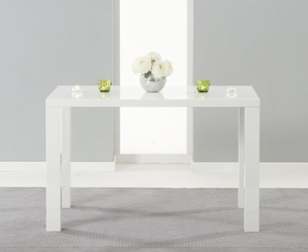 Para Large White High Gloss Rectangular Modern Kitchen Dining Table
