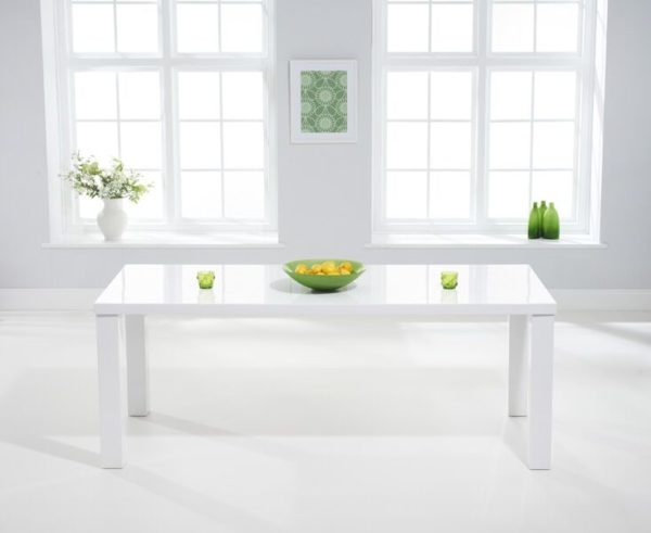 Para Extra Large White High Gloss Rectangular Modern Kitchen Dining Table