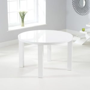 Para Large White High Gloss Round Modern Kitchen Dining Table