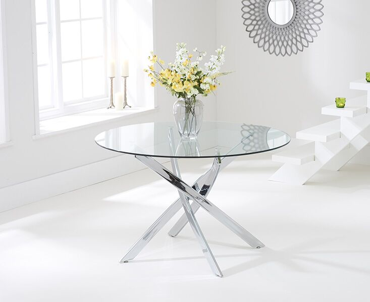 Dieter Large Clear Glass Round Modern Kitchen Dining Table