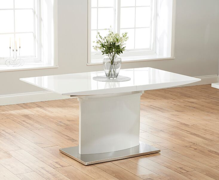 Helix Large Extending White High Gloss Modern Kitchen Dining Table