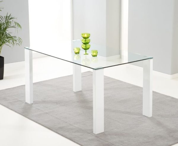 Lasar Large Clear Glass Top Rectangular Stylish Kitchen Dining Table - White High Gloss Base