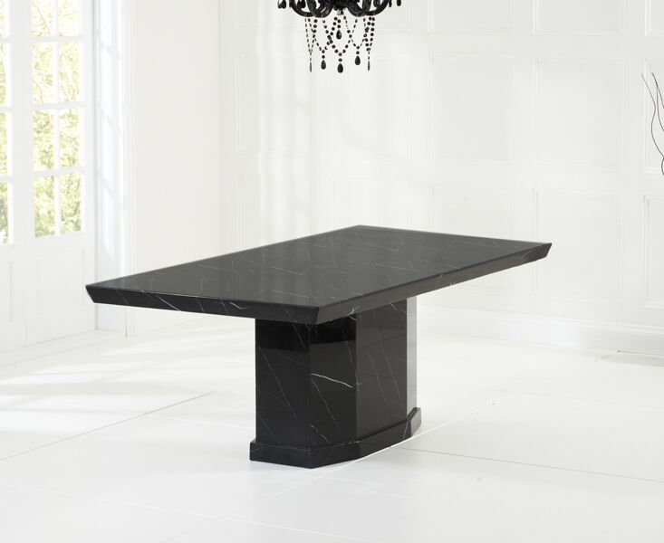 Cos Extra Large Modern Kitchen Dining Marble Table - Black Or Brown