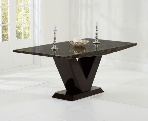 Lencen Large Modern Kitchen Dining Marble Table - All Brown Or Cream On Brown