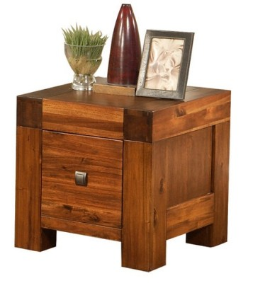 Mona Accacia Solid Wood Lamp Table Fully Assembled