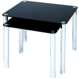 Lotus Nest Of 2 Tables Black Glass With Chrome Legs