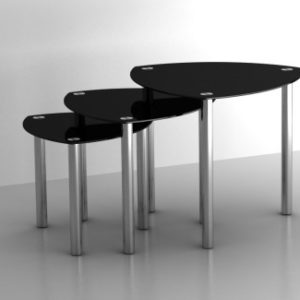 Sonya Nest Of Tables (3) Glass And Stainless Steel