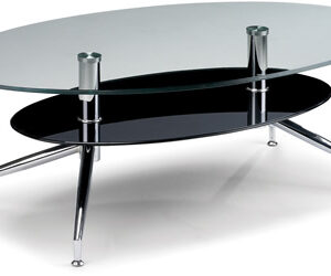 Crevine Oval Clear And Black Glass 2 Shelf Coffee Table