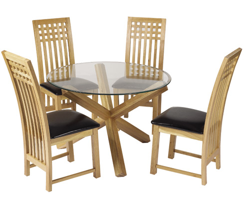 Opodo Round Table Glass Top With Oak Legs