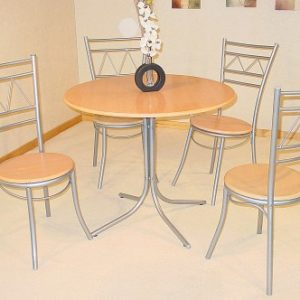 Oasis Round Silver And Beech Table And 4 Chairs