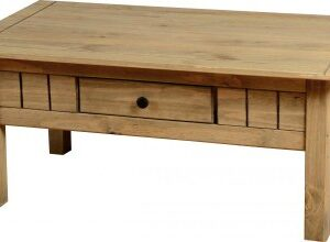 Panto Pine Coffee Table - 1 Drawer In Natural Wax