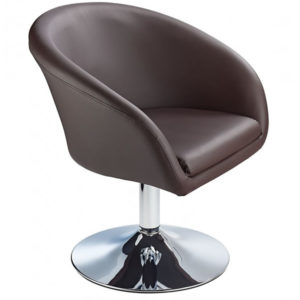 Leisure Tub Bucket Chair Brown Padded Seat Swivel Chrome Frame