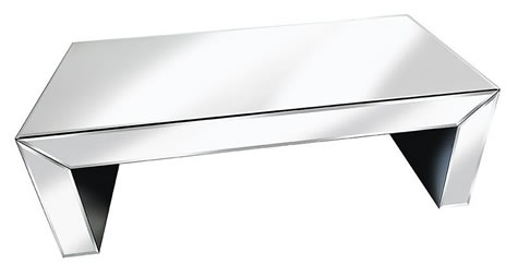 Serene Sophisticated Mirror Glass Coffee Table - Cube Design