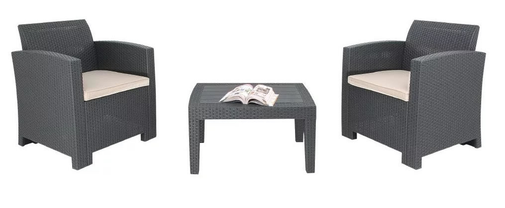 Sophon Outdoor Garden Grey Armchair And Table Wicker Set