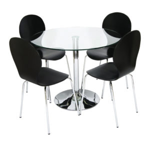 Harvey Clear Glass And Chrome Dining Table With Levancy Wood And Chrome Chair Set