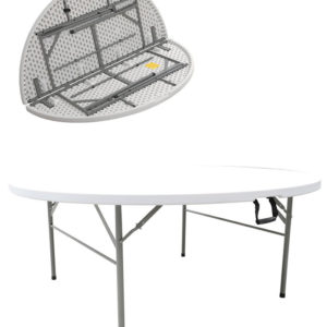 Restine Large Round Centre Fold Round Plastic Folding Table - 6Ft - 183Cm Commercial Quality
