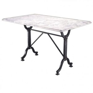 Rempo Large Marble Granite Dining Kitchen Table with Cast Iron Legs