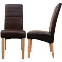 Reno Faux Leather Dining Chair - Brown
