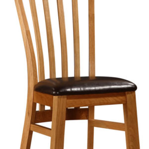 Rutly Solid Oak Dining Kitchen Chair With Padded Seat
