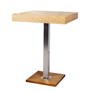 Gresily Tall Bar Poseur Table Square Oak Top Stainless Steel Frame