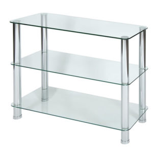 Lotus Shelving System / Entertainment Stand - Chrome And Clear Glass