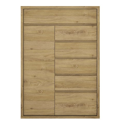 Tiamaria Oak Glazed Wood Cupboard - 1 Door 6 Drawer