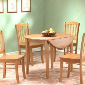 Natural Wood Round Extending Table And 4 Chairs