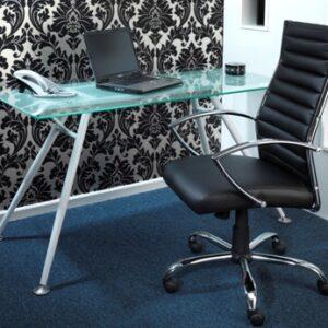 Hanover Executive Pu Adjustable Chair & Sarasota Glass Computer Desk