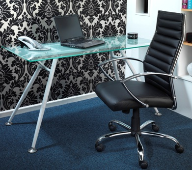 Hanover Executive Pu Adjustable Chair & Sarasota Glass Computer Desk