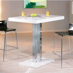 Rasq Tall Kitchen White Poseur Bar Table White High Gloss Square Rectangular Top And Base Chrome Supports