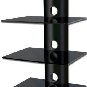 Alcone Floating 3 Black Glass Shelf Wall Mount For Audio Video Dvd Hi Fi Equipment