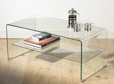 Bensoi 2 Tier Clear Glass Curved Glass Coffee Table