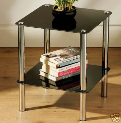 2 Tier Glass Side Table