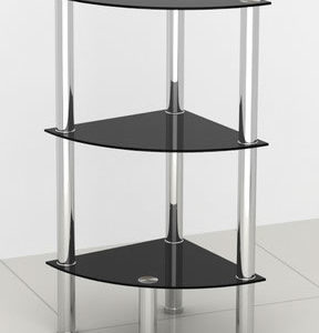Stylon Black Glass 3 Shelf End Display Stand Side Table