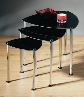 Black Glass Nest Of 3 Tables