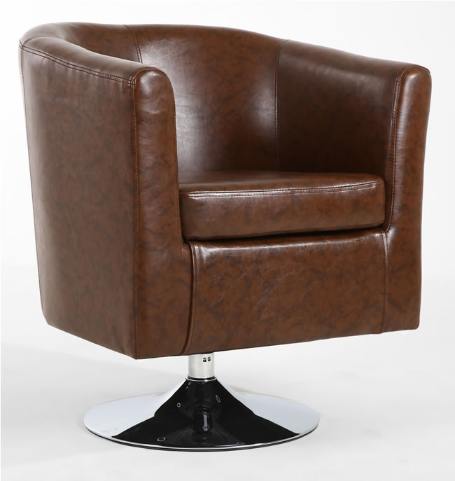 Pleasing Gosa Swivel Tub Chair Unique And Modern Chrome Frame Brown Pvc Dailytribune Chair Design For Home Dailytribuneorg