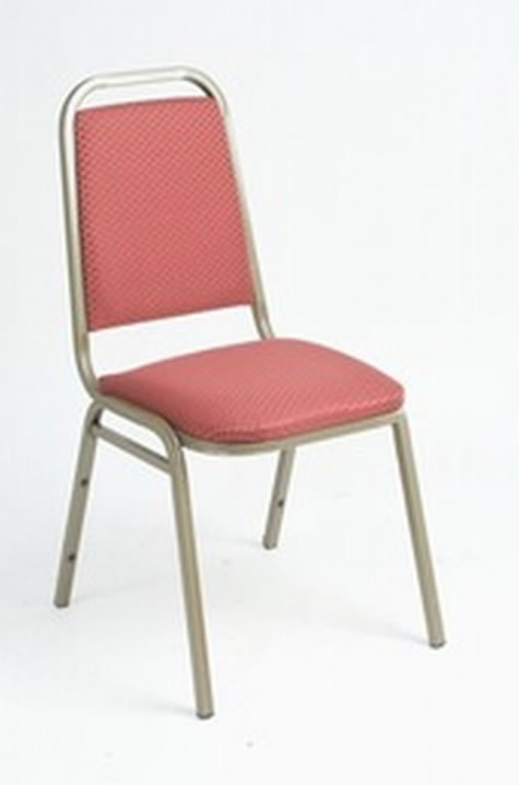 Harrope Steel Stacking Banqueting Chair With Gold Frame And Red Seat Fully Assembled