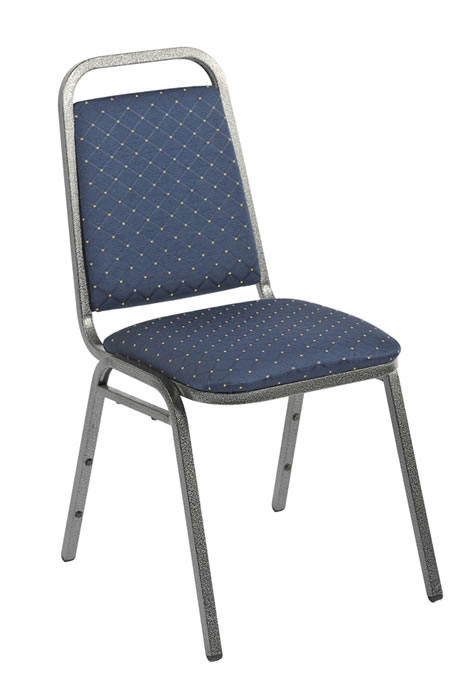 Harrope Steel Stacking Banqueting Chair With Silver Frame And Blue Seat Fully Assembled