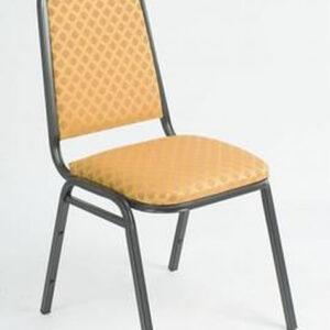 Harrope Steel Stacking Banqueting Chair With Black Frame And Gold Weave Seat