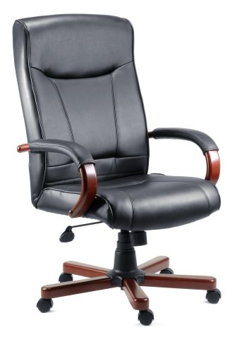 Curtisdo Office Black Leather Chair With Mahogony Or Oak Arm Trim