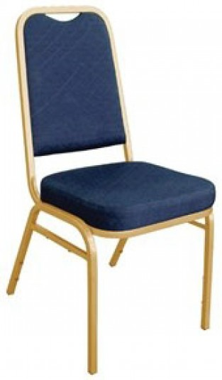 Brelone Set Of 4 Squared Banqueting Chairs Blue Gold Frame