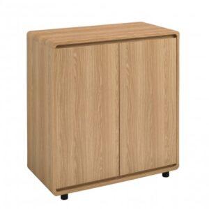 Cavony Curvy Oak Finish Small Sideboard Stylish And Modern