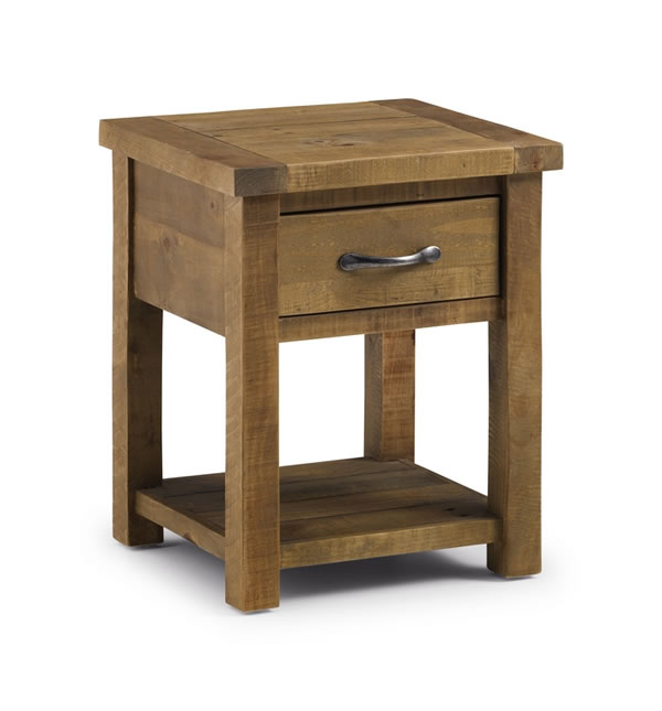 Asoney Lamp Side Table With Drawer Rough Sawn Solid Pine Fully Assembled