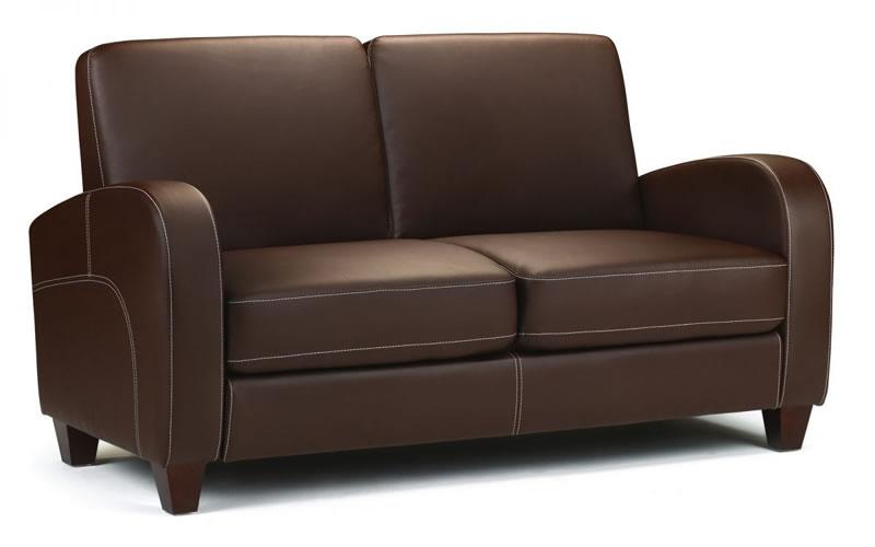 Vi Sofa Curved Modern Stylish 2 Seater Sofa Chesnut Brown Retro Style