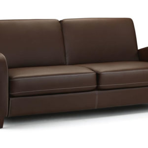 Vason 3 Seater Sofa In Chestnut Faux Leather Modern And Stylish Retro Style