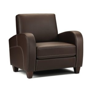 Vi Chestnut Brown Faux Leather Tub Sofa Chair Curved Arms Retro Style